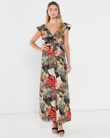 Revenge Jungle Print Maxi Dress  Black