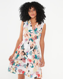 Revenge Wrap Dress  Floral Print White