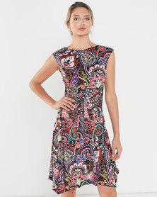 Revenge Paisley Print Multi Colour Dress Black