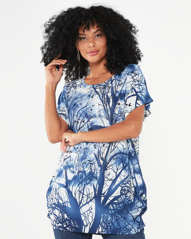 Revenge Forest Print Top Blue