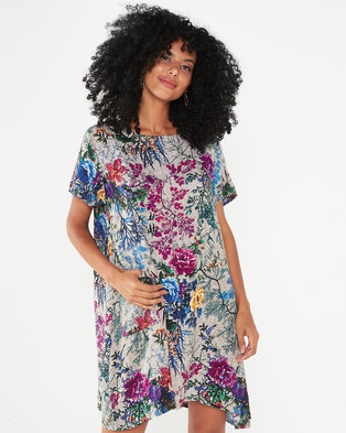 Revenge Tunic Flower Print Top With Pockets Green