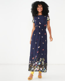 Revenge Short Sleeve Max Dress with  Butterfly Print Navy