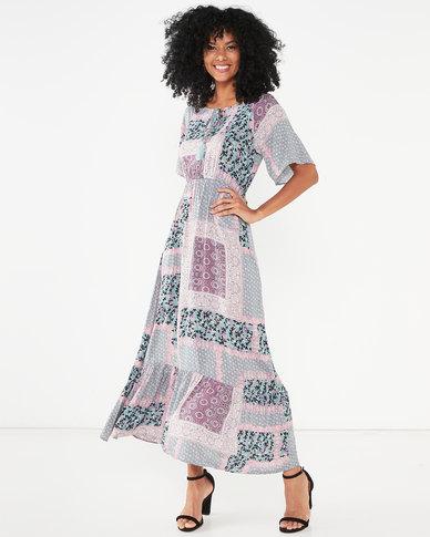 Revenge Multi Print Maxi Dress  Pink