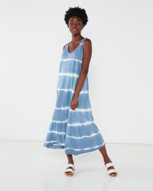 Revenge Tie Dye Racer Back Maxi Dress Blue