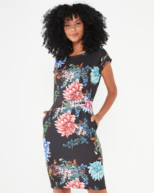 Revenge Tropical Print Dress Black