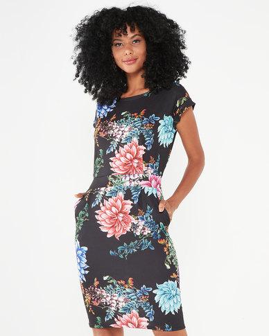 Revenge Tropical Print Dress Black