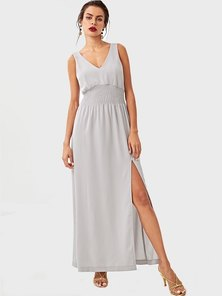 Elite Occasions Deep V Runched Pleated Shell Dress