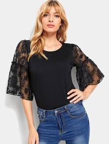 Elite Occasions Lace Panel Sleeve Solid Blouse