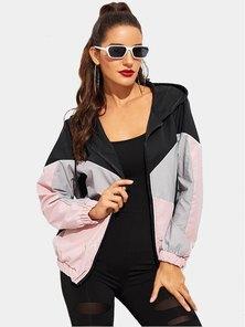 Elite Occasions Color Block Drawstring Detail Hooded Windbreaker Jacket
