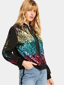 Elite Occasions Contrast Sequin Zip Up Jacket