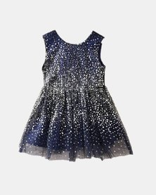 Oikie Toikie Sequin Stitched Princess Dress Navy