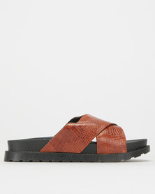 Utopia Croc Chunky Mule Brown