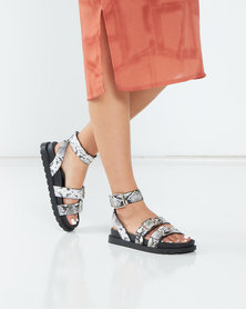 Utopia Strappy Snake Chunky Sandals Black