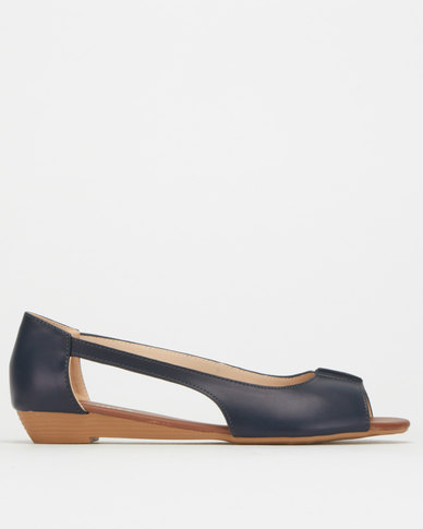 Utopia Cut Out Wedge Pumps Navy
