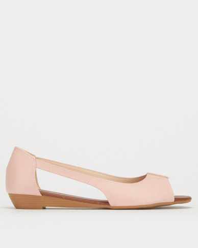 Utopia Cut Out Wedge Pumps Dusty Pink