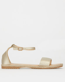 Utopia Faux Leather Espadrille Sandal Gold