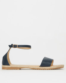 Utopia Faux Leather Espadrille Sandals Navy