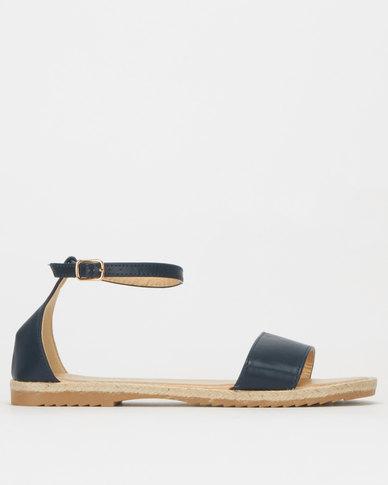 Utopia Faux Leather Espadrille Sandals Navy