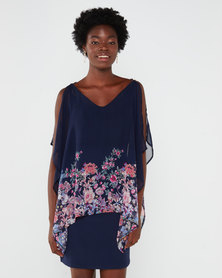 Utopia Floral Border Print Tunic Dress Navy