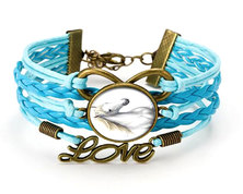 Urban Charm Glass cabochon Bronze Infinity Bracelet - White Stallion - Light Blue