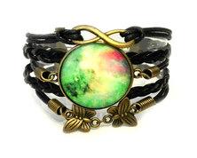 Urban Charm Glass cabochon Infinity Bracelet Earth Child - Black