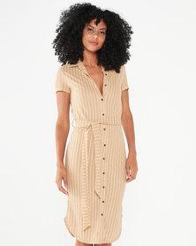 Utopia Stripe Linen Look Shirt Dress Stone