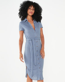 Utopia Stripe Linen Look Shirt Dress Blue