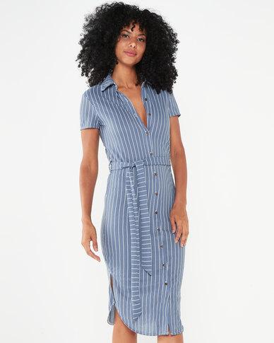 Utopia Stripe Linen Look Shirt Dress Blue