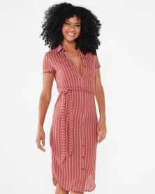 Utopia Stripe Linen Look Shirt Dress Dark Rose