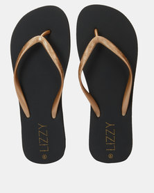 Lizzy Darcy Contrast Strap Flip Flop Black/Gold