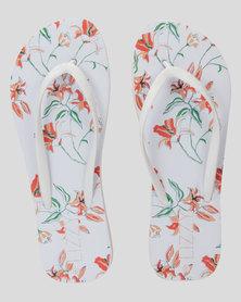 Lizzy Mattie Floral Flip Flop White