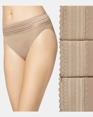 Warner's Lace Nylon Hi-Cut Brief Nude - No Pinching. No Problem