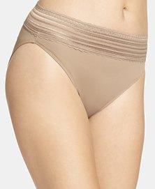 Warner's Lace Nylon Hi-Cut Brief Nude - No Pinching. No Problem