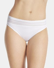Warner's Lace Nylon Hi-Cut Brief White - No Pinching. No Problem