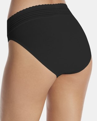Warner's Lace Cotton Hi-Cut Brief Black - No Pinching. No Problem