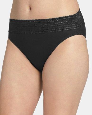 Warner's Lace Cotton Hi-Cut Brief Black - No Pinching. No Problem
