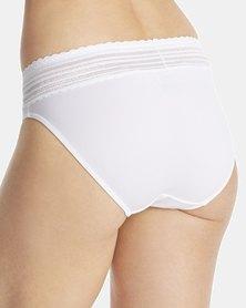 Warner's No Pinching. No Problem, Lace Cotton Hi-Cut Brief White