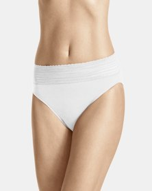 Warner's Lace Cotton Hi-Cut Brief White - No Pinching. No Problem
