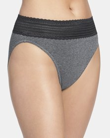 Warner's Lace Cotton Hi-Cut Brief Grey - No Pinching. No Problem,