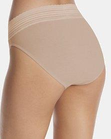 Warner's No Pinching. No Problem, Lace Cotton Hi-Cut Brief Nude