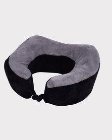 Marco Memory Foam Travel Pillow. Black-Grey