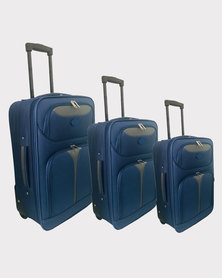 Marco Soft Case Luggage Bag - Set of 3 Blue-Grey