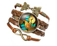 Urban Charm Glass cabochon Bronze Infinity Bracelet - Antique Butterflies- Brown