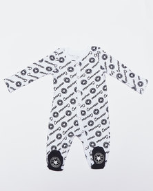 Converse Infants Long Sleeve Script Footed Coverall Multi