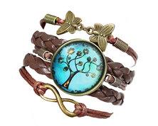 Urban Charm Glass cabochon Bronze Infinity Bracelet - Tree of Life - Dark Brown