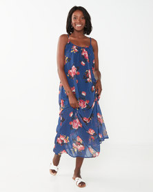 Utopia Floral Aline Maxi Dress Blue