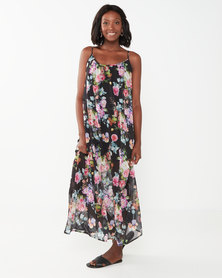 Utopia Floral Aline Maxi Dress Black