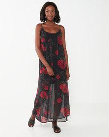 Utopia Floral Aline Maxi Dress Black/Red