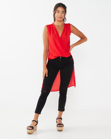 Utopia Drape Front Georgette Top Red