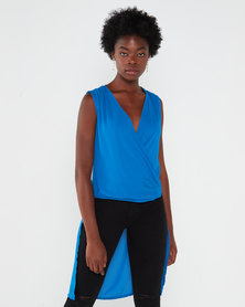Utopia Drape Front Georgette Top Blue